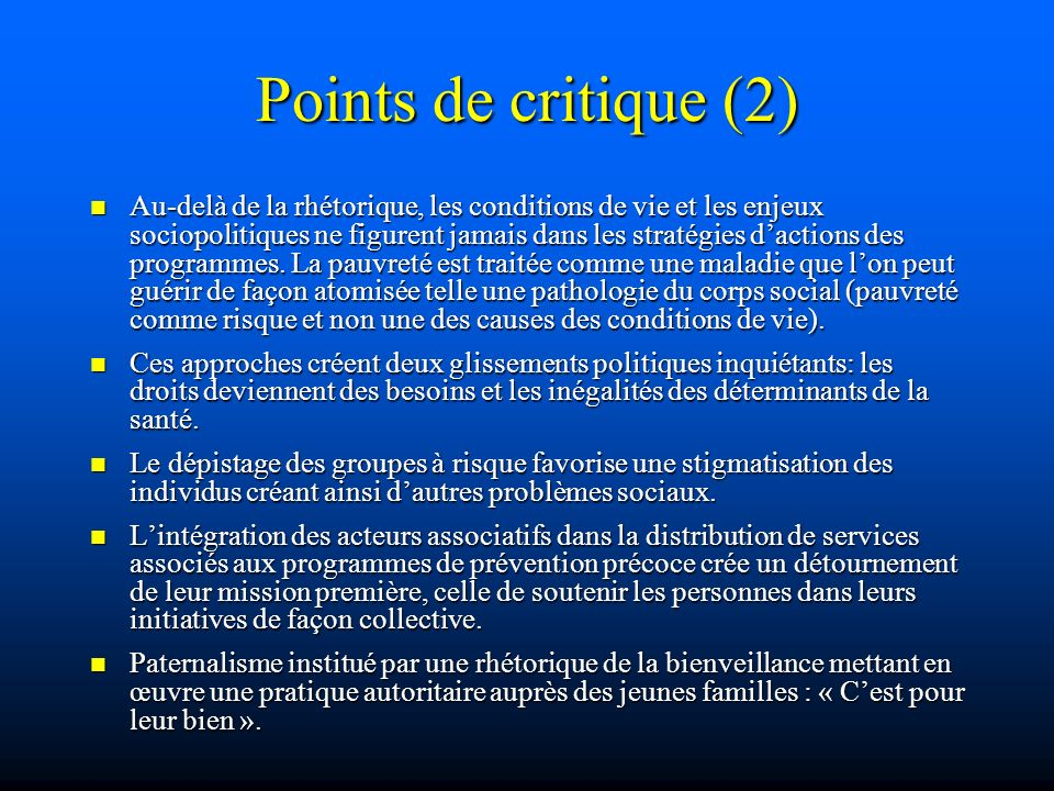 Points de critique (2)