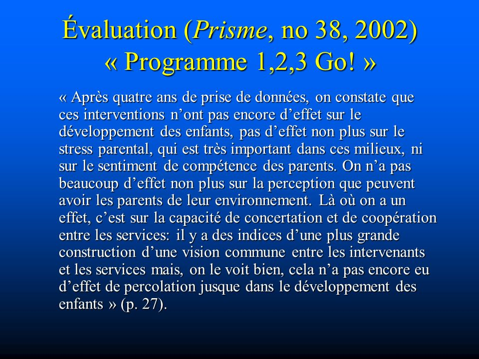 Évaluation (Prisme, no 38, 2002) « Programme 1,2,3 Go! »