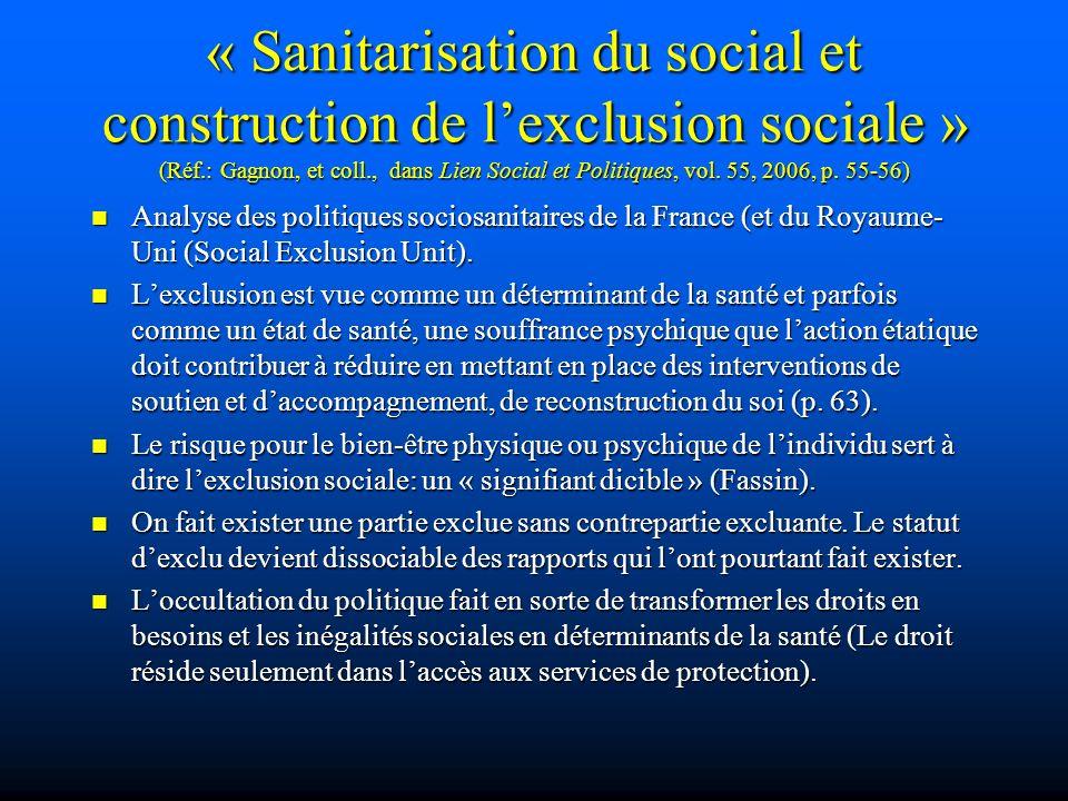 « Sanitarisation du social et construction de l'exclusion sociale » (Réf.: Gagnon, et coll., dans Lien Social et Politiques, vol. 55, 2006, p. 55-56)