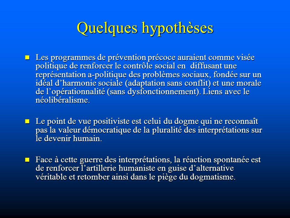 Quelques hypothèses