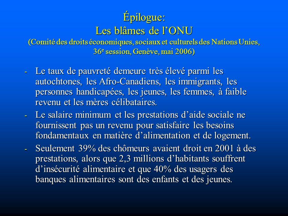 Épilogue: Les blâmes de l'ONU (Comité des droits économiques, sociaux et culturels des Nations Unies, 36e session, Genève, mai 2006)
