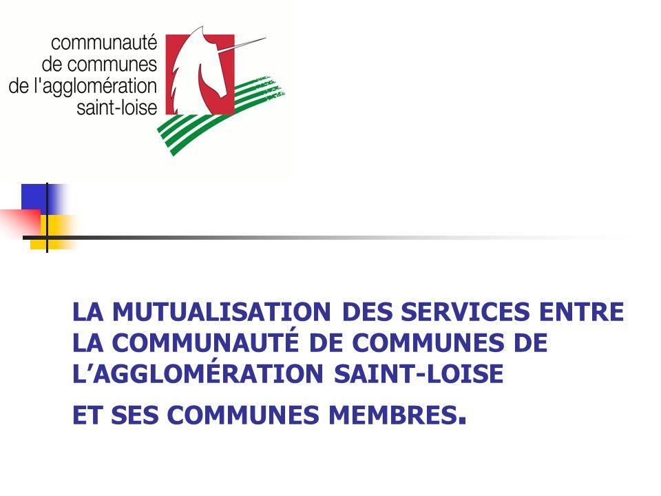 LA MUTUALISATION DES SERVICES ENTRE LA COMMUNAUTÉ DE COMMUNES DE L'AGGLOMÉRATION SAINT-LOISE ET SES COMMUNES MEMBRES.