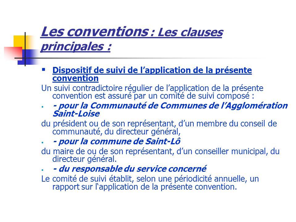 Les conventions : Les clauses principales :
