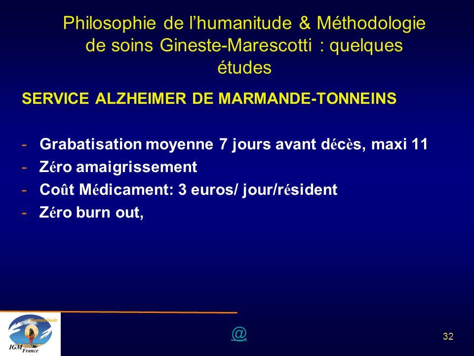 Philosophie de l'humanitude & Méthodologie de soins Gineste-Marescotti : quelques études