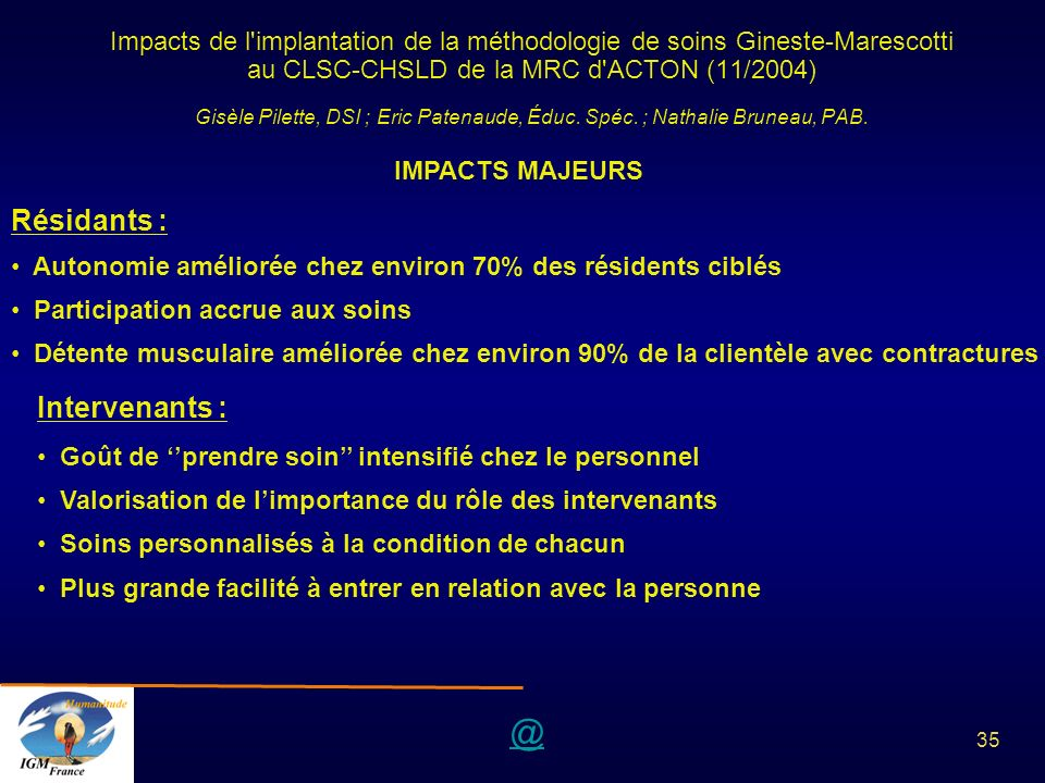 Résidants : Intervenants :