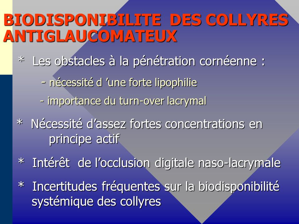 BIODISPONIBILITE DES COLLYRES ANTIGLAUCOMATEUX