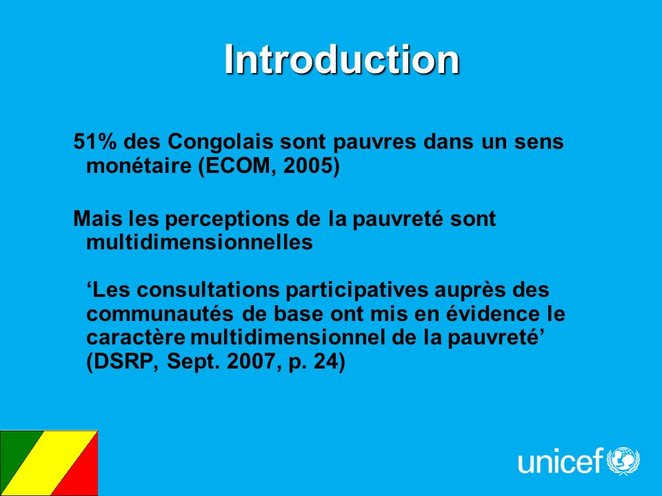 Introduction 51% des Congolais sont pauvres dans un sens monétaire (ECOM, 2005)