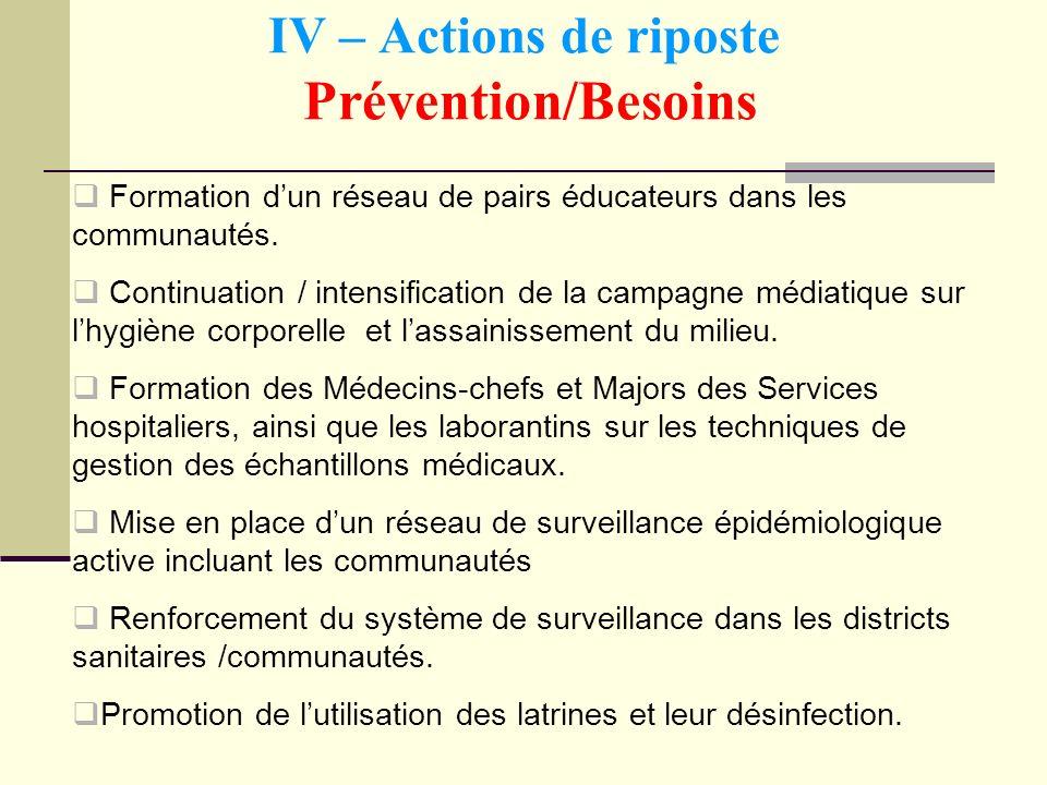 IV – Actions de riposte Prévention/Besoins