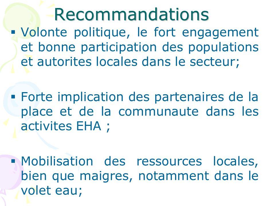 Recommandations Volonte politique, le fort engagement et bonne participation des populations et autorites locales dans le secteur;