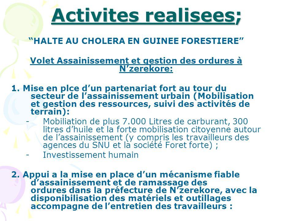 Activites realisees; HALTE AU CHOLERA EN GUINEE FORESTIERE
