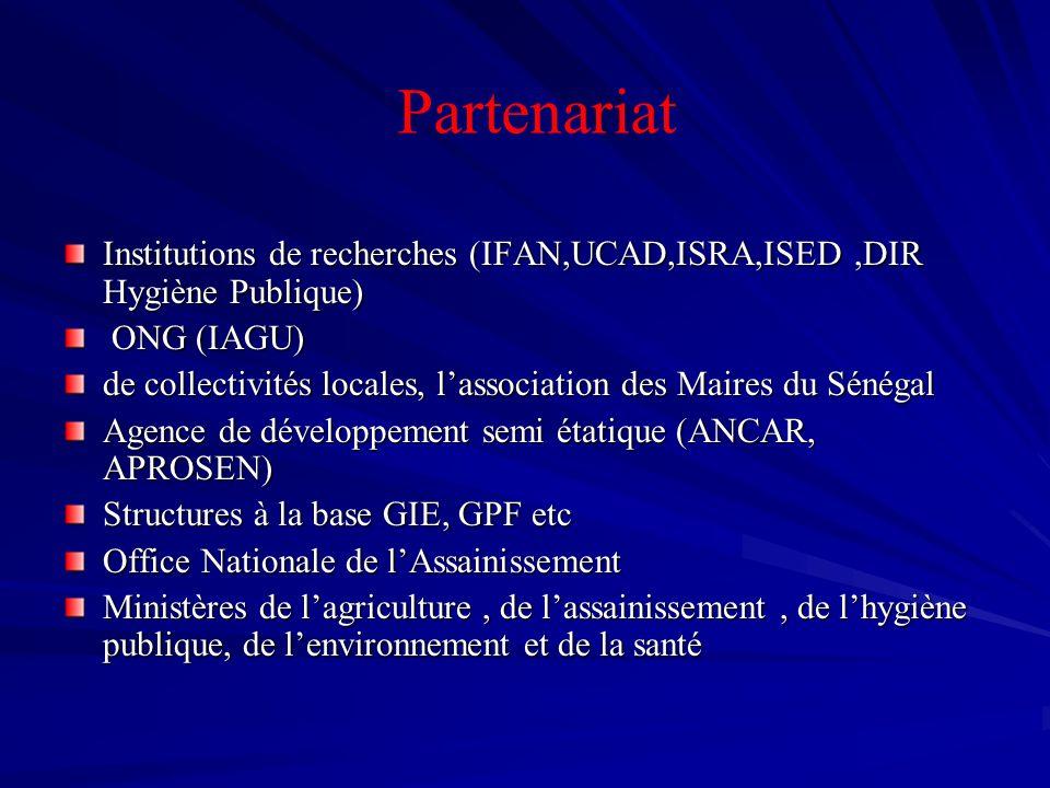 PartenariatInstitutions de recherches (IFAN,UCAD,ISRA,ISED ,DIR Hygiène Publique) ONG (IAGU)