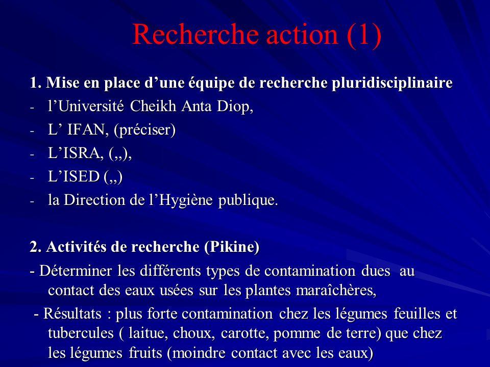 Recherche action (1)1. Mise en place d'une équipe de recherche pluridisciplinaire. l'Université Cheikh Anta Diop,
