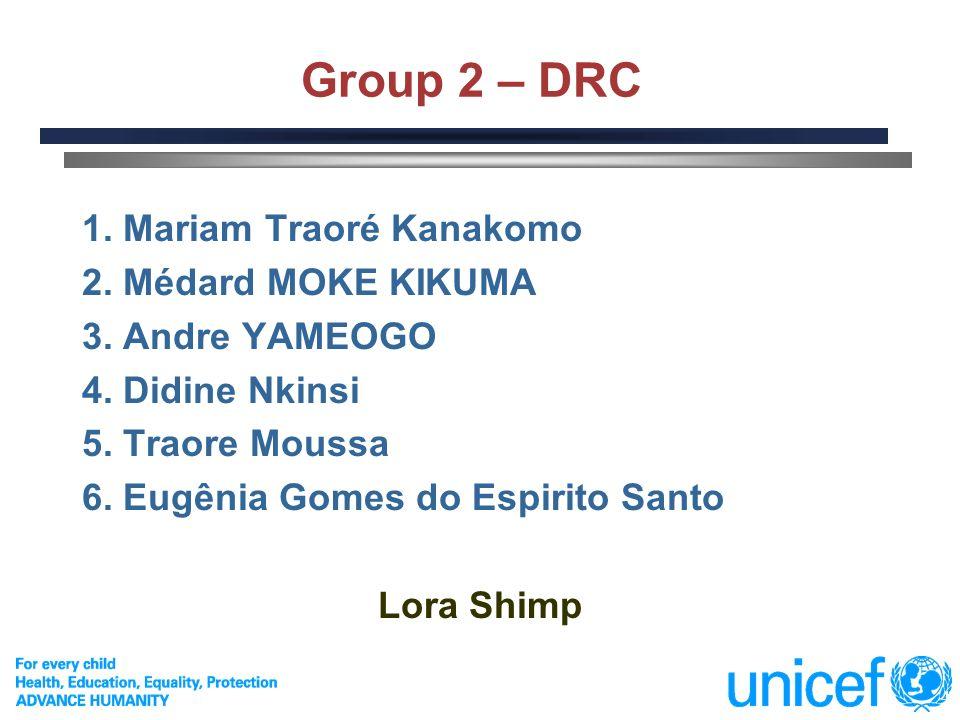 Group 2 – DRC 1. Mariam Traoré Kanakomo 2. Médard MOKE KIKUMA
