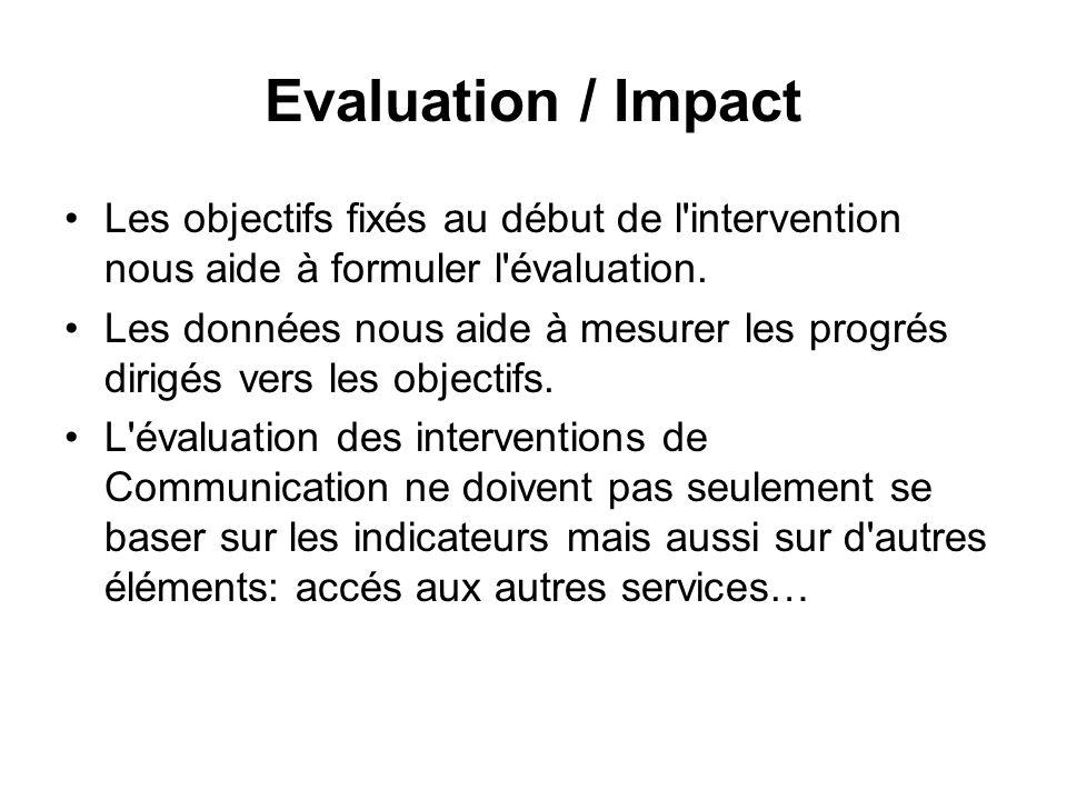 Evaluation / ImpactLes objectifs fixés au début de l intervention nous aide à formuler l évaluation.