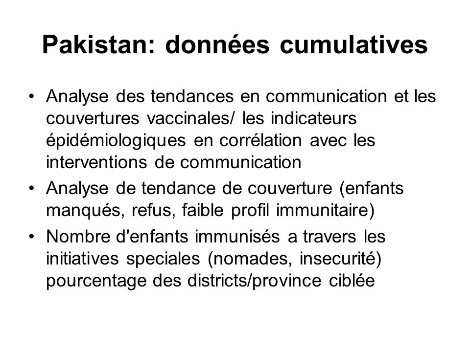 Pakistan: données cumulatives