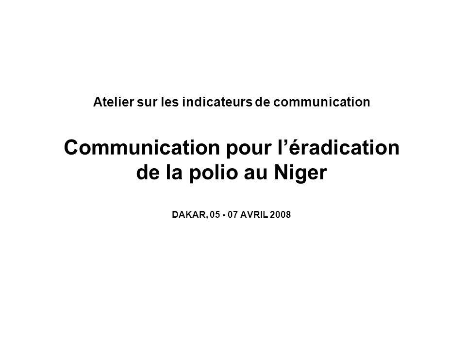 Atelier sur les indicateurs de communication Communication pour l'éradication de la polio au Niger DAKAR, 05 - 07 AVRIL 2008