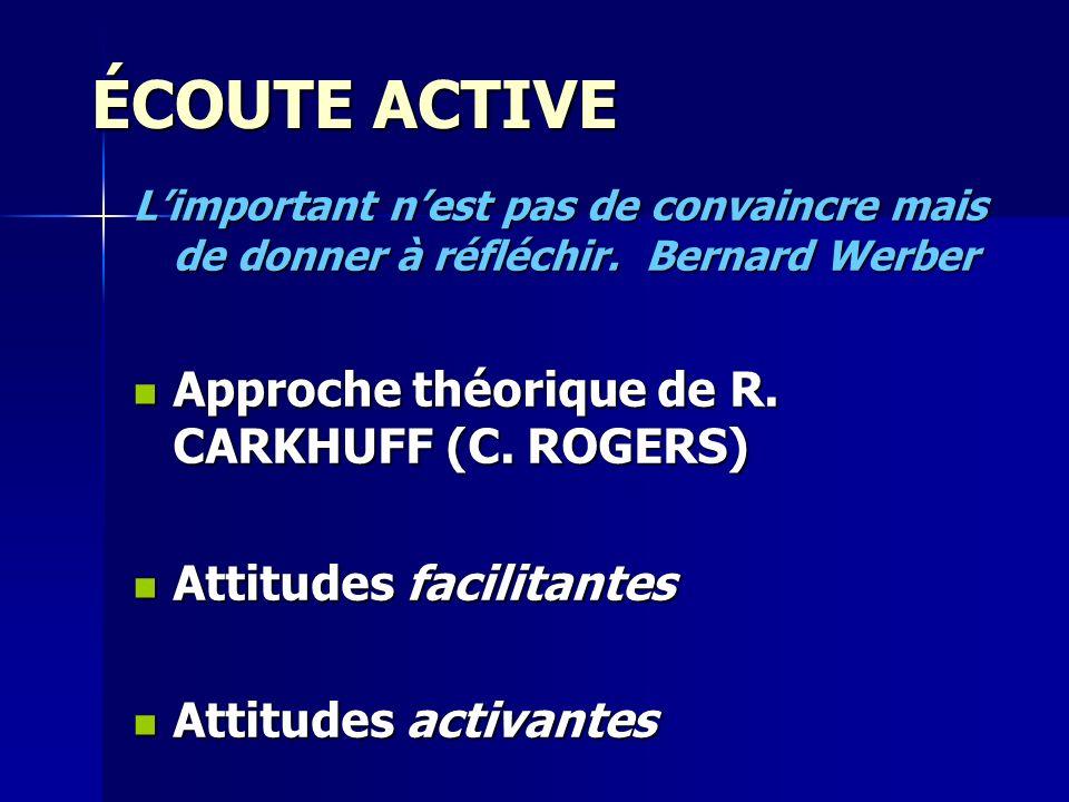 ÉCOUTE ACTIVE Approche théorique de R. CARKHUFF (C. ROGERS)