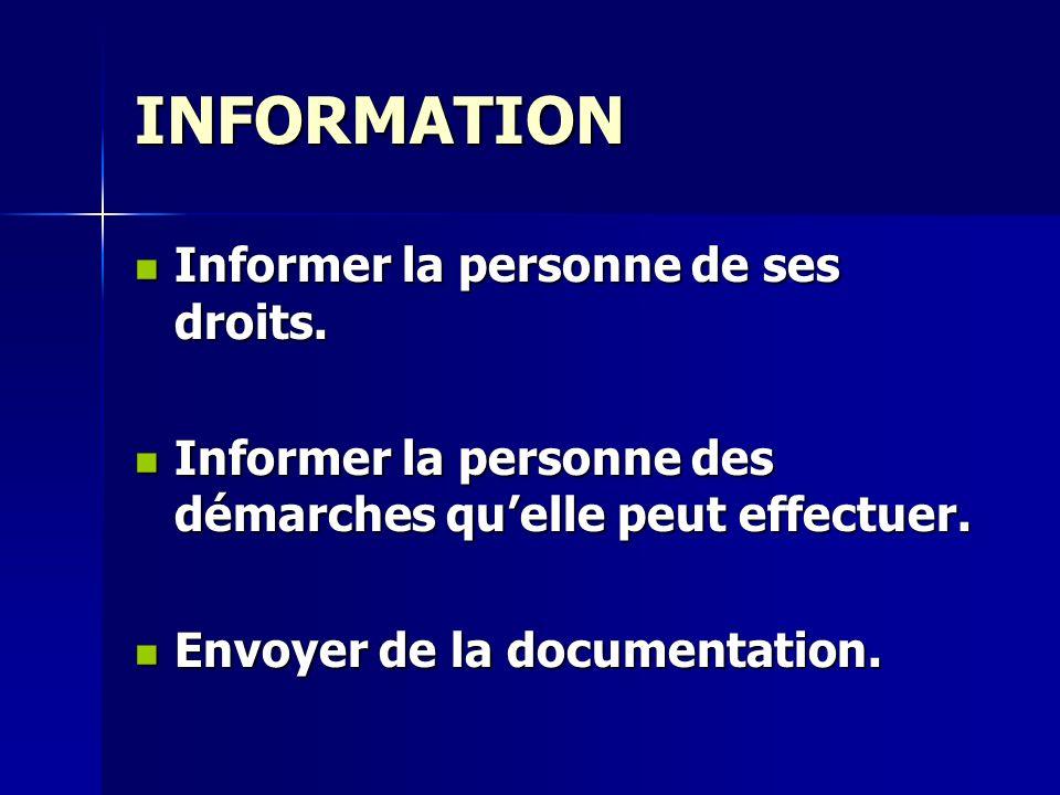 INFORMATION Informer la personne de ses droits.