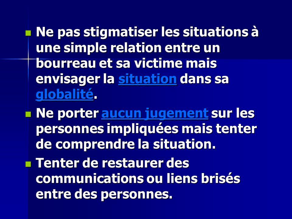 Ne pas stigmatiser les situations à une simple relation entre un bourreau et sa victime mais envisager la situation dans sa globalité.