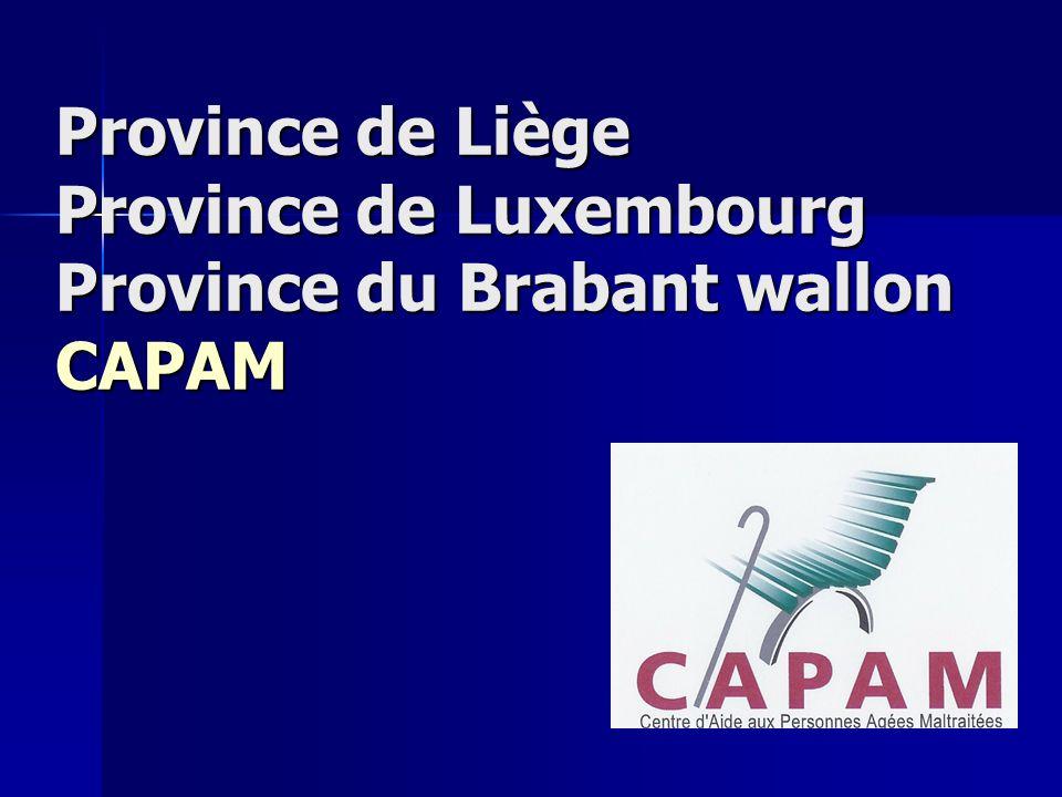 Province de Liège Province de Luxembourg Province du Brabant wallon CAPAM