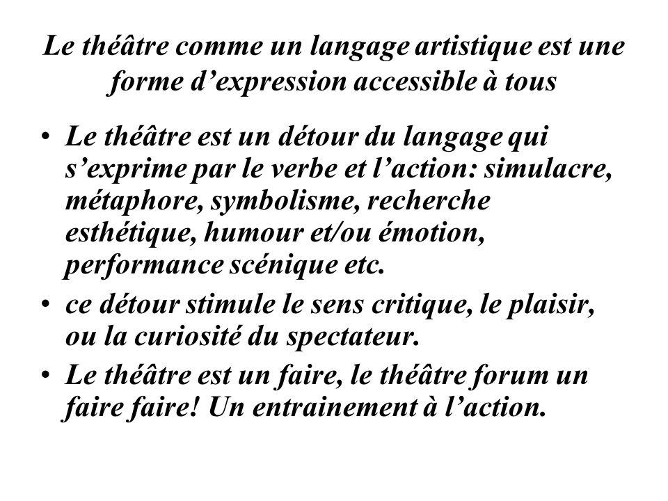Le théâtre comme un langage artistique est une forme d'expression accessible à tous