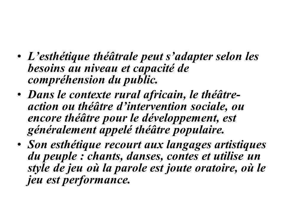 L'esthétique théâtrale peut s'adapter selon les besoins au niveau et capacité de compréhension du public.