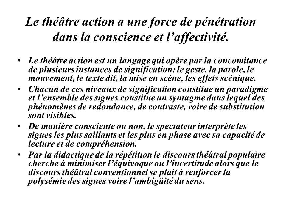 Le théâtre action a une force de pénétration dans la conscience et l'affectivité.