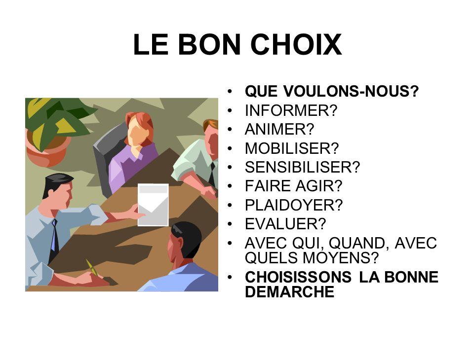 LE BON CHOIX QUE VOULONS-NOUS INFORMER ANIMER MOBILISER