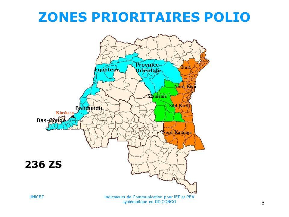 ZONES PRIORITAIRES POLIO