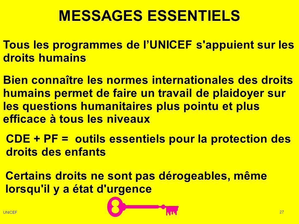 MESSAGES ESSENTIELS Tous les programmes de l'UNICEF s appuient sur les droits humains.