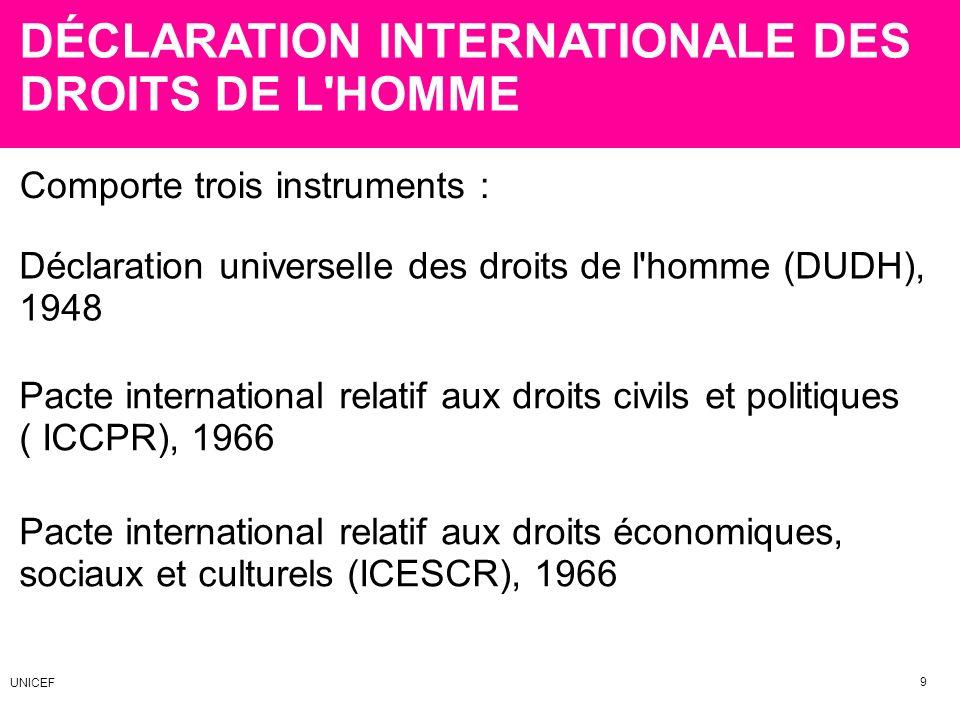 DÉCLARATION INTERNATIONALE DES DROITS DE L HOMME
