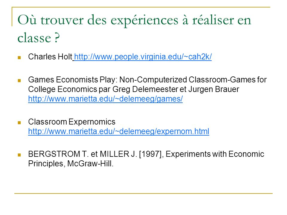 Où trouver des expériences à réaliser en classe