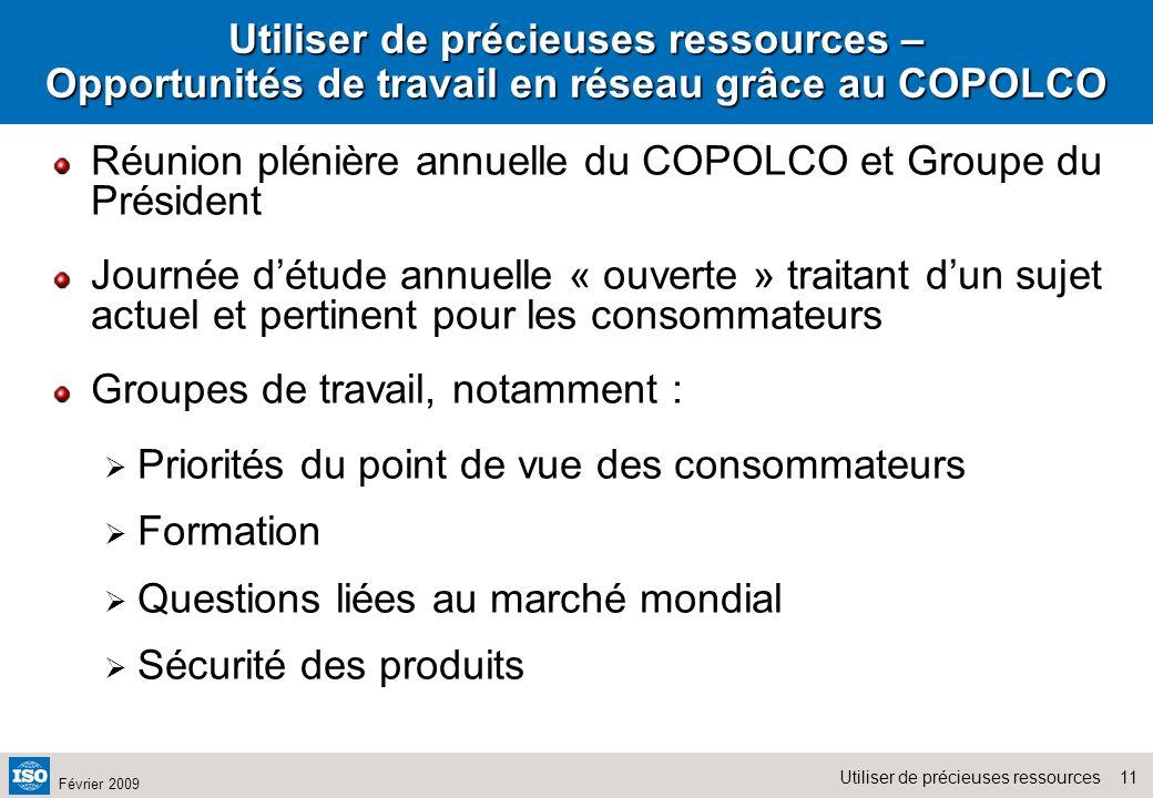Utiliser de précieuses ressources – Opportunités de travail en réseau grâce au COPOLCO