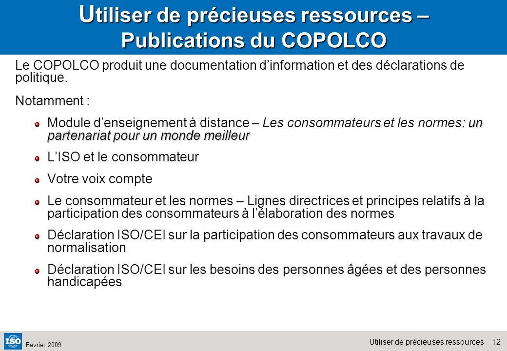 Utiliser de précieuses ressources – Publications du COPOLCO