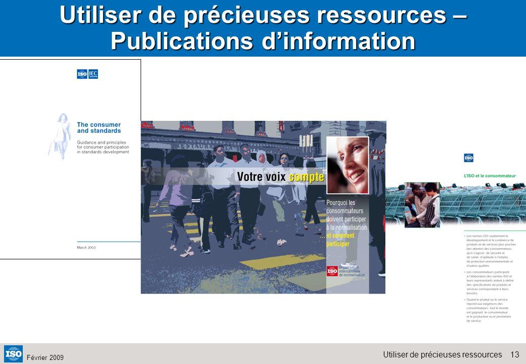 Utiliser de précieuses ressources – Publications d'information