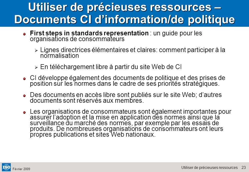 Utiliser de précieuses ressources – Documents CI d'information/de politique
