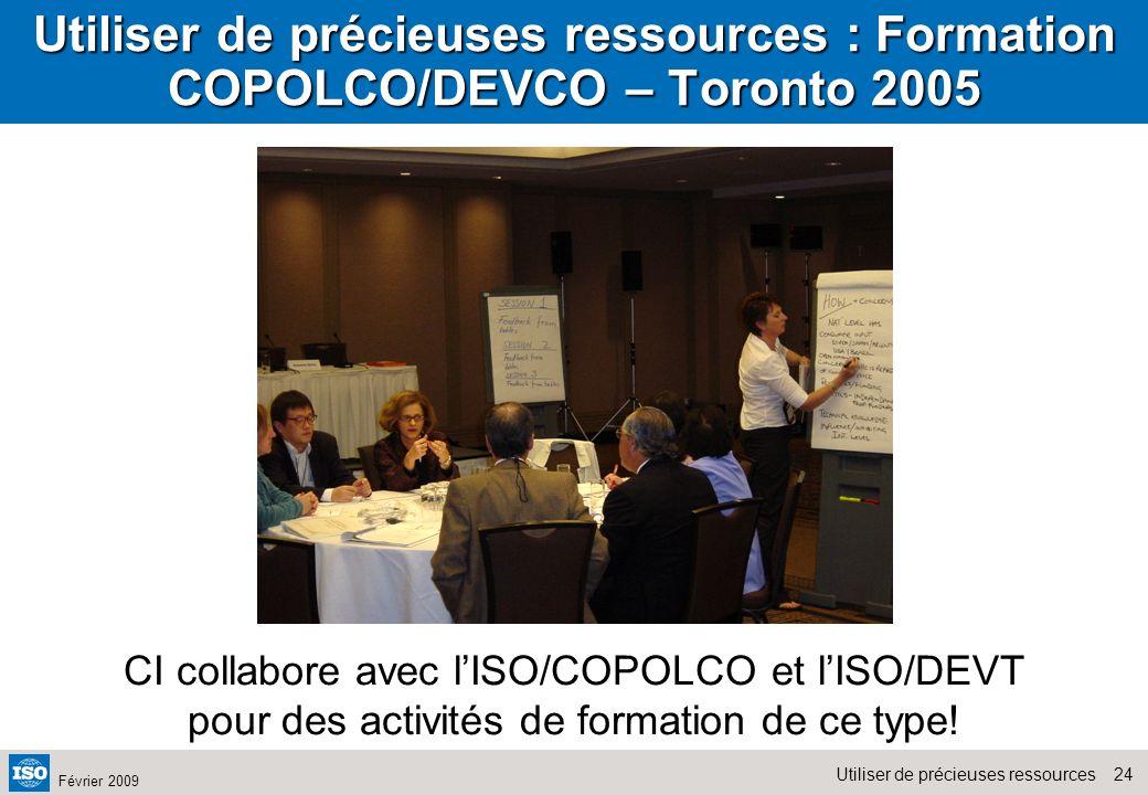 Utiliser de précieuses ressources : Formation COPOLCO/DEVCO – Toronto 2005