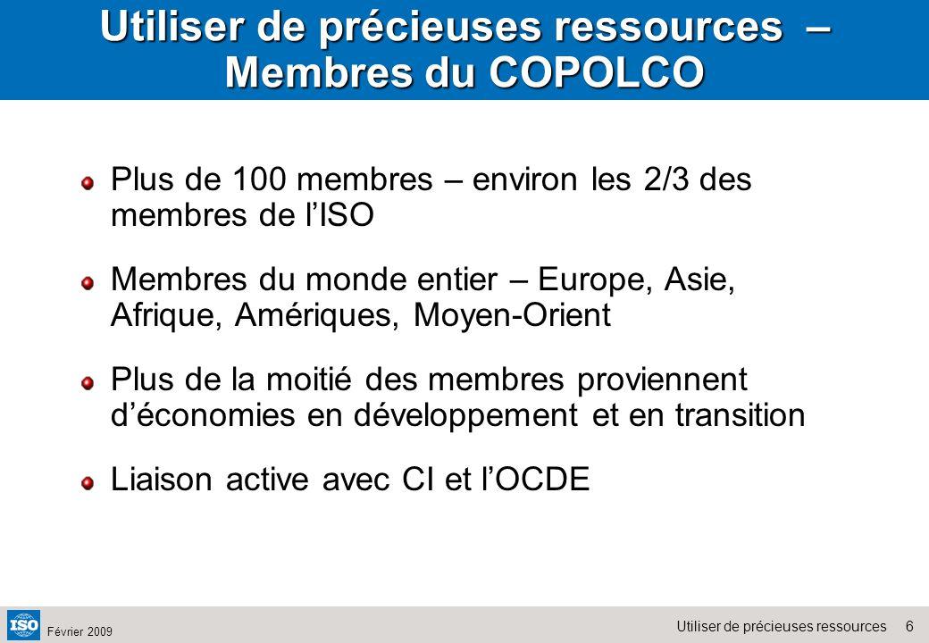 Utiliser de précieuses ressources – Membres du COPOLCO