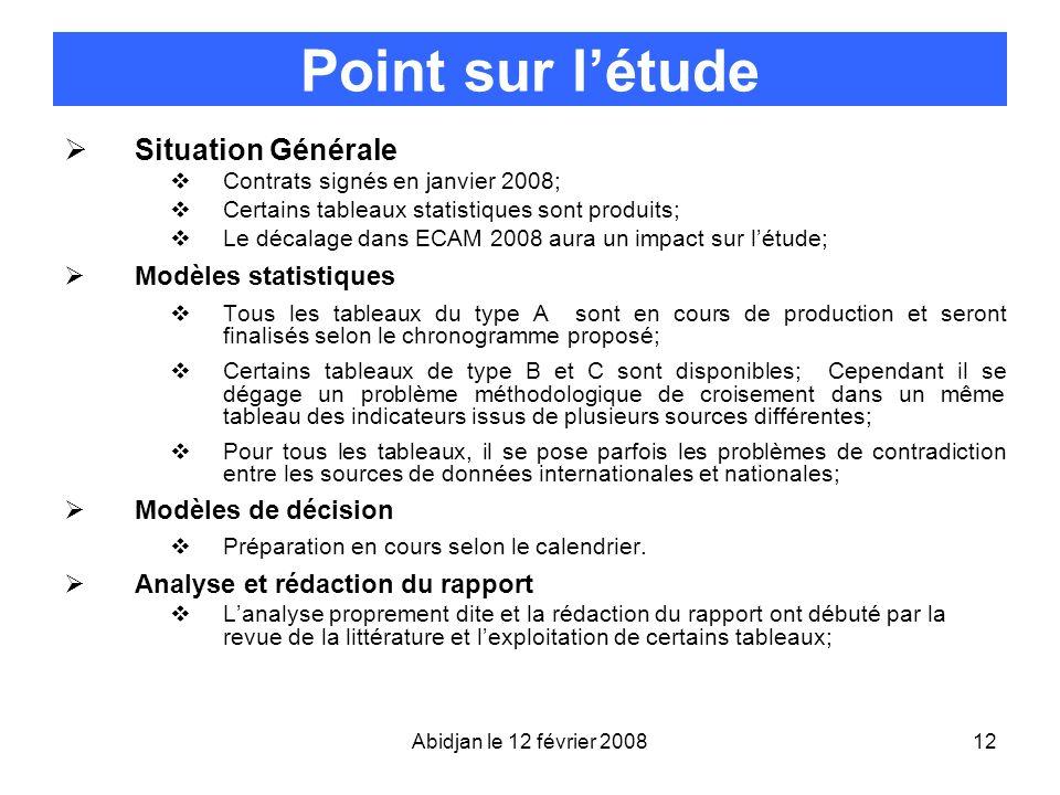 Point sur l'étude Situation Générale Modèles statistiques