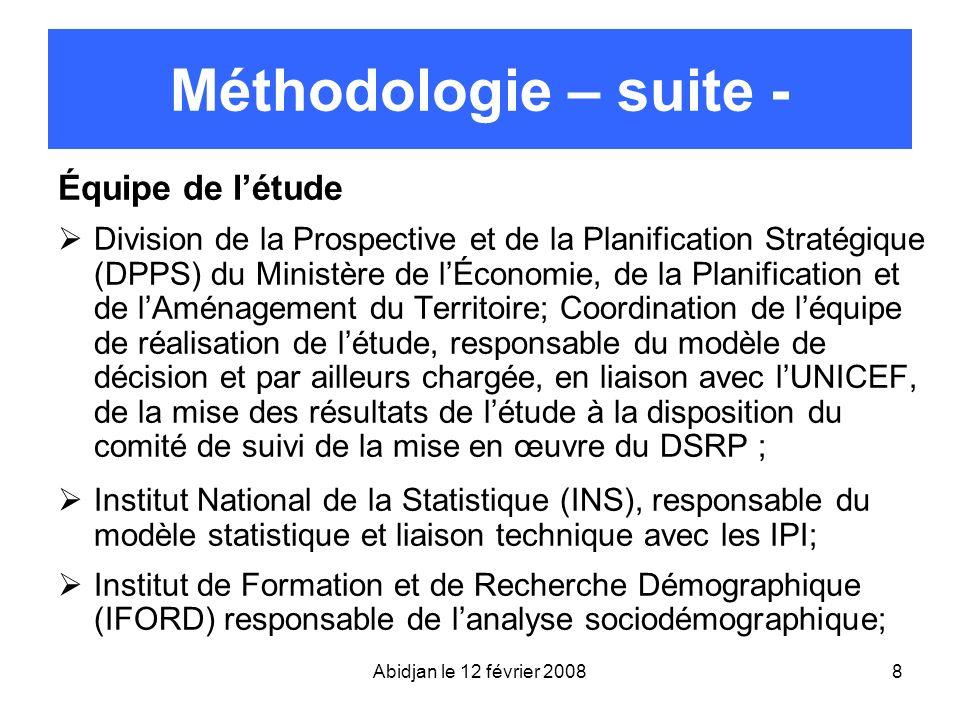 Méthodologie – suite - Équipe de l'étude