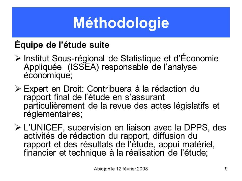 Méthodologie Équipe de l'étude suite