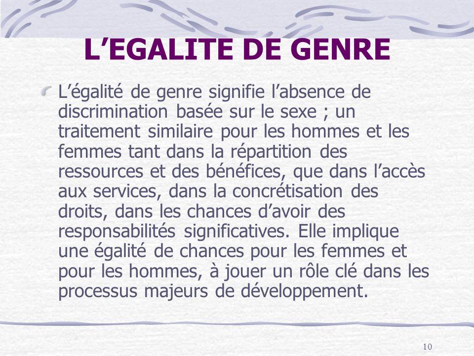 L'EGALITE DE GENRE