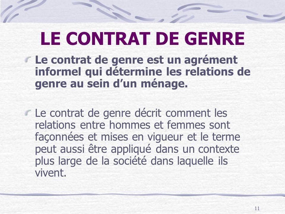 LE CONTRAT DE GENRE Le contrat de genre est un agrément informel qui détermine les relations de genre au sein d'un ménage.