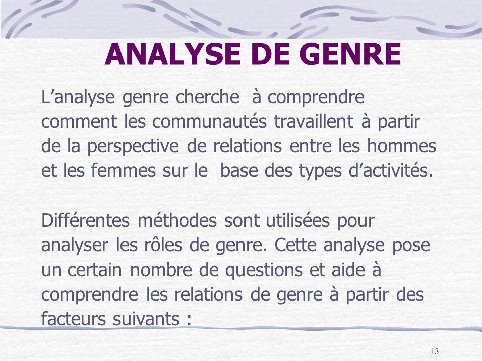 ANALYSE DE GENRE L'analyse genre cherche à comprendre