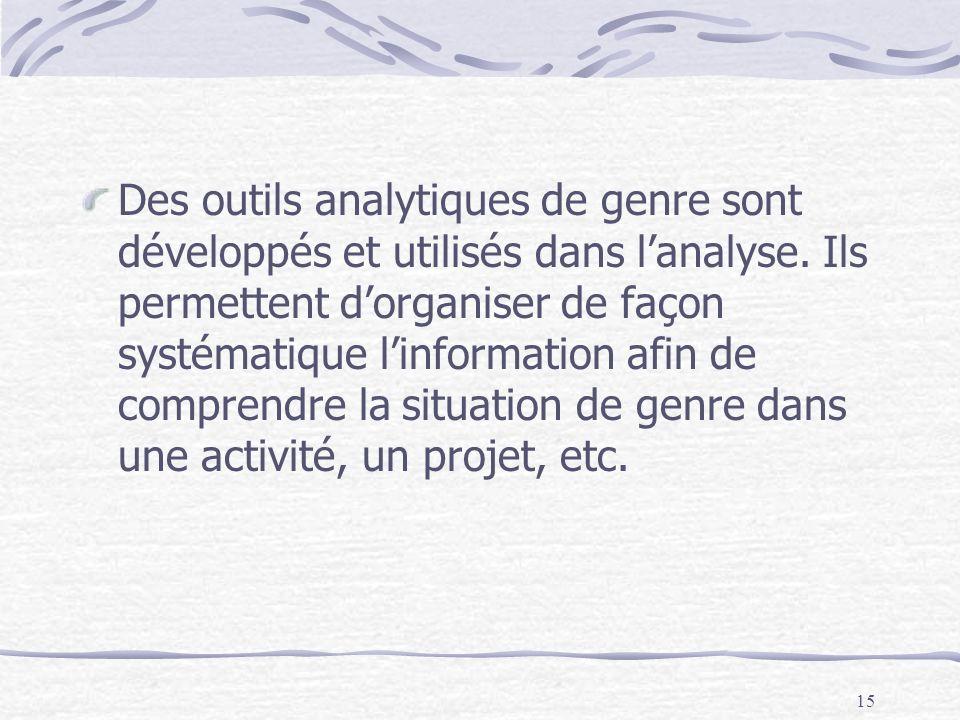 Des outils analytiques de genre sont développés et utilisés dans l'analyse.