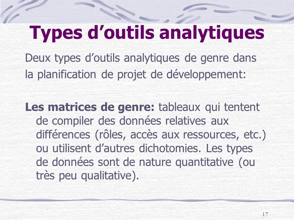 Types d'outils analytiques