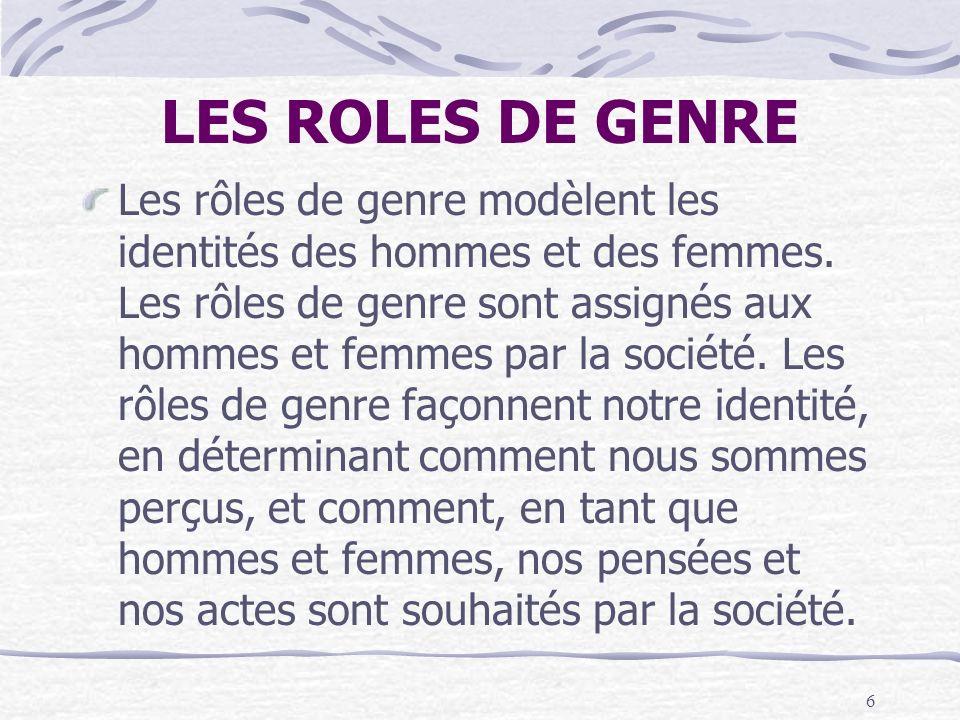 LES ROLES DE GENRE