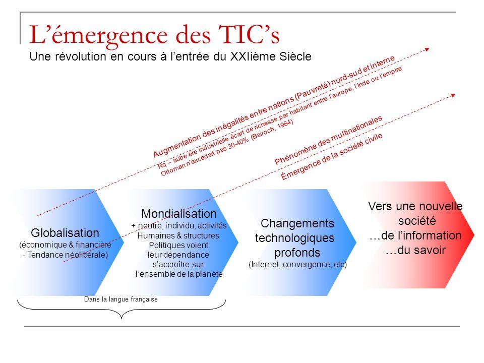 L'émergence des TIC's Une révolution en cours à l'entrée du XXIième Siècle. Augmentation des inégalités entre nations (Pauvreté) nord-sud et interne.