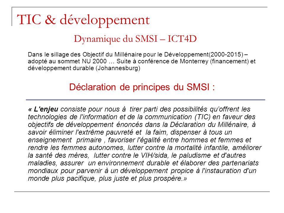TIC & développement Dynamique du SMSI – ICT4D