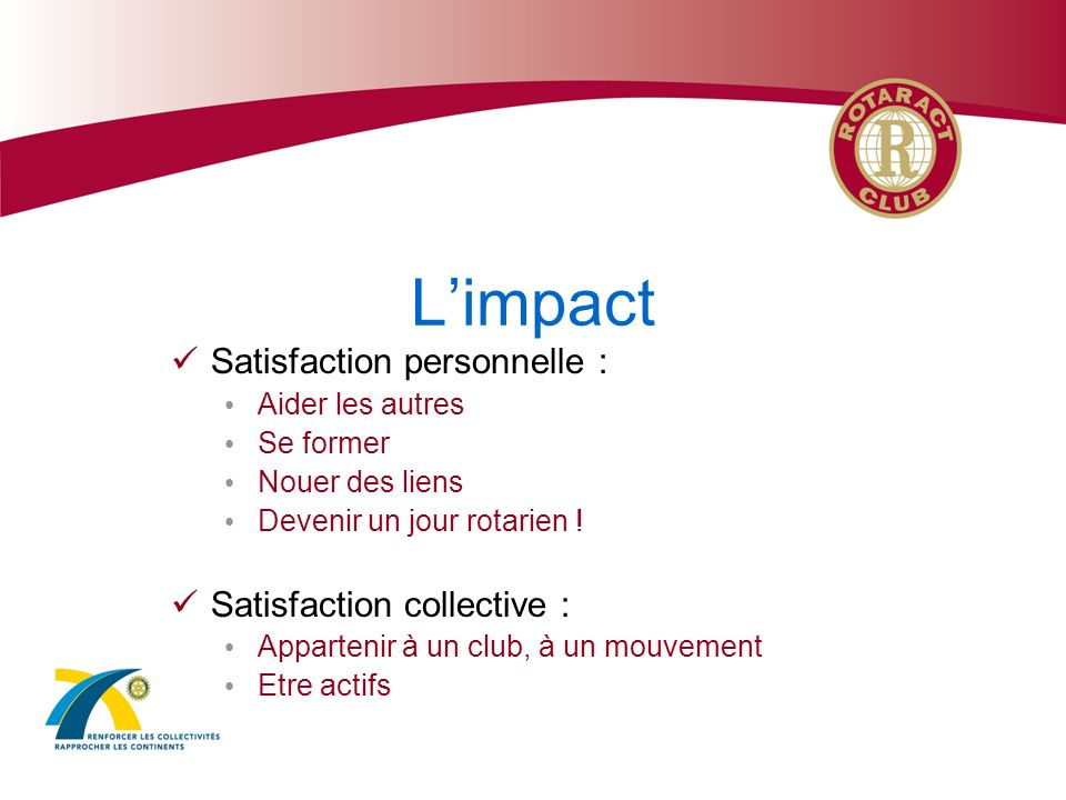 L'impact Satisfaction personnelle : Satisfaction collective :